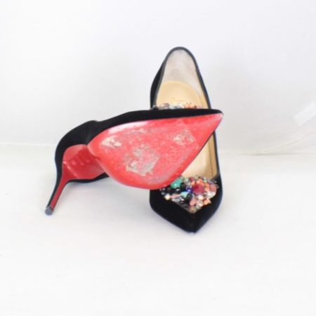 CHRISTIAN LOUBOUTIN Diva Cora 100 Velvet Heels Size USA 7 Euro 37 Item16376 d