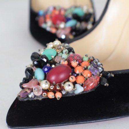 CHRISTIAN LOUBOUTIN Diva Cora 100 Velvet Heels Size USA 7 Euro 37 Item16376 f