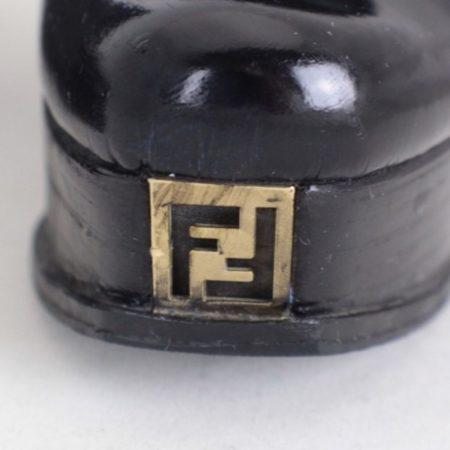 FENDI Black Leather Wedges Size USA 7.5 Euro 37.5 ItemTM999 d