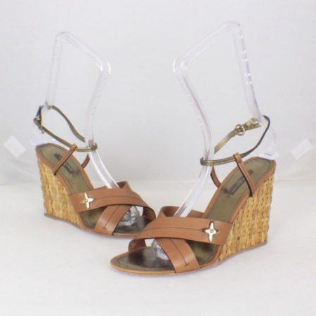 LOUIS VUITTON Brown Open Toe Wedges Size USA 9 Euro 39 Item16556 a