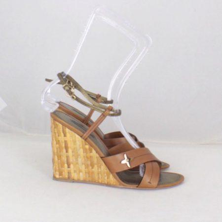 LOUIS VUITTON Brown Open Toe Wedges Size USA 9 Euro 39 Item16556 b