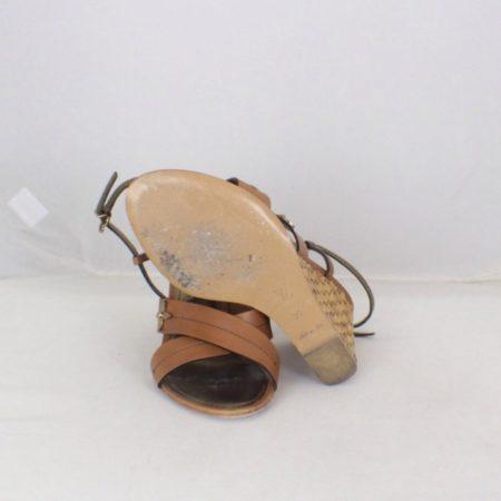 LOUIS VUITTON Brown Open Toe Wedges Size USA 9 Euro 39 Item16556 e