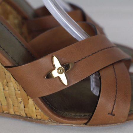 LOUIS VUITTON Brown Open Toe Wedges Size USA 9 Euro 39 Item16556 g
