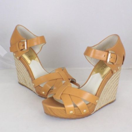 MICHAEL KORS Tan Strappy Wedges Size USA 8 Euro 38 Item16551 a