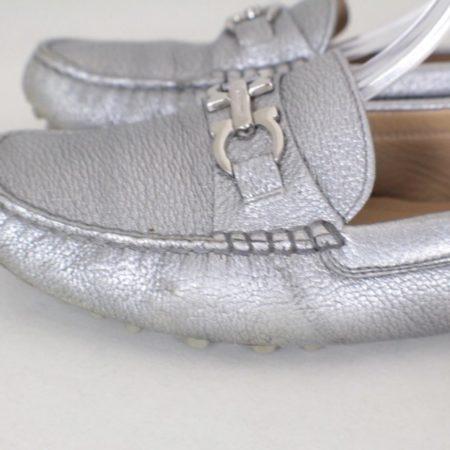 SALVATORE FERRAGAMO Silver Leather Loafers Size USA 7 Euro 37 Item16375 d