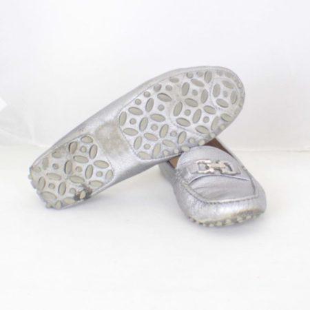SALVATORE FERRAGAMO Silver Leather Loafers Size USA 7 Euro 37 Item16375 f