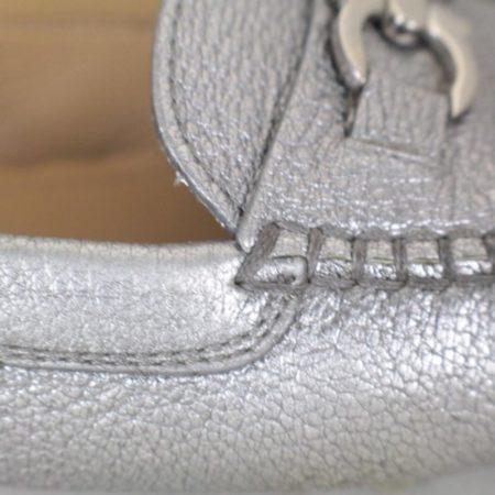 SALVATORE FERRAGAMO Silver Leather Loafers Size USA 7 Euro 37 Item16375 h