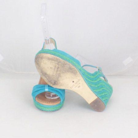 KATE SPADE 17456 Blue Green Open Toe Wedges size US 8 Eur 38 b