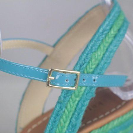 KATE SPADE 17456 Blue Green Open Toe Wedges size US 8 Eur 38 e