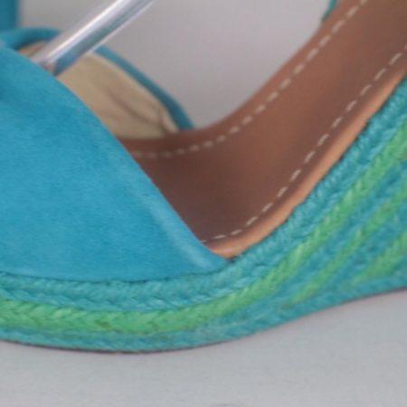 KATE SPADE 17456 Blue Green Open Toe Wedges size US 8 Eur 38 f