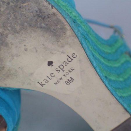KATE SPADE 17456 Blue Green Open Toe Wedges size US 8 Eur 38 h