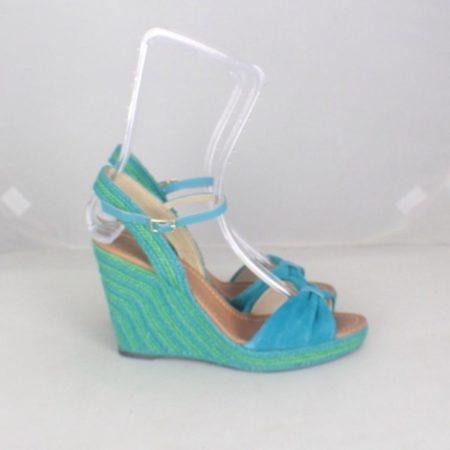 KATE SPADE 17456 Blue Green Open Toe Wedges size US 8 Eur 38 i