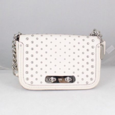 COACH 18300 White Leather Chain Crossbody a