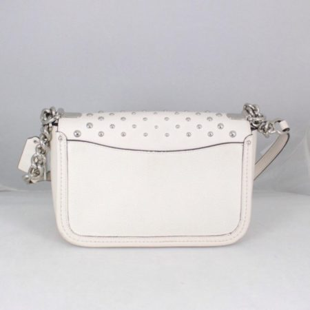 COACH 18300 White Leather Chain Crossbody c