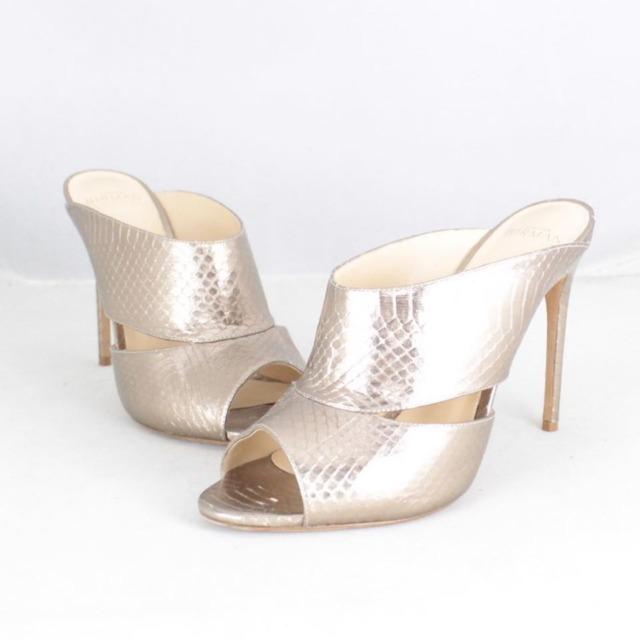 ALEXANDER BIRMA 20645 Rose Gold Metallic Peep Toe Heels size US 10 Eur 40 a