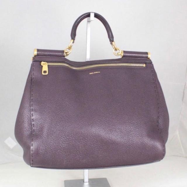 DOLCE GABBANA 20053 Burgundy Leather Tote a