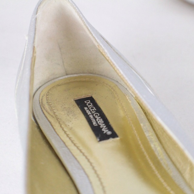 DOLCE GABBANA Metallic Silver Tone Flats Size USA 10 Euro 40 Item14925 f
