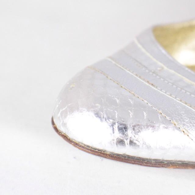 DOLCE GABBANA Metallic Silver Tone Flats Size USA 10 Euro 40 Item14925 g