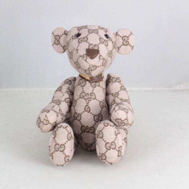GUCCI 20776 Brown Logo Teddy Bear a