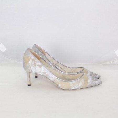 JIMMY CHOO 19501 Silver Lace Pumps size US 7.5 Eur 37.5 e