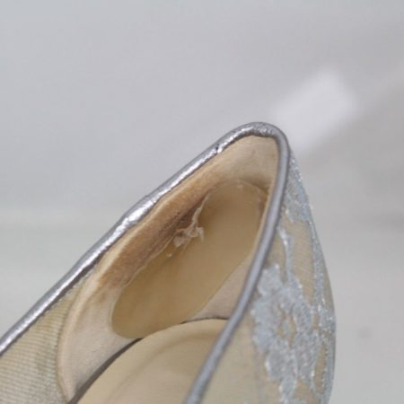 JIMMY CHOO 19501 Silver Lace Pumps size US 7.5 Eur 37.5 f