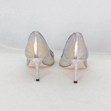 JIMMY CHOO 19501 Silver Lace Pumps size US 7.5 Eur 37.5 h