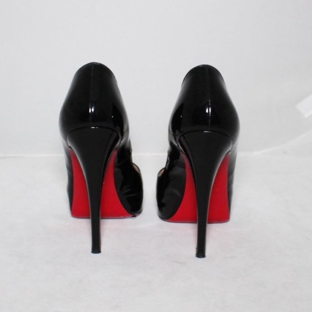 CHRISTIAN LOUBOUTIN Black Patent Leather New Very Prive Platform Heels Size 9 US Eur 39 20982 b