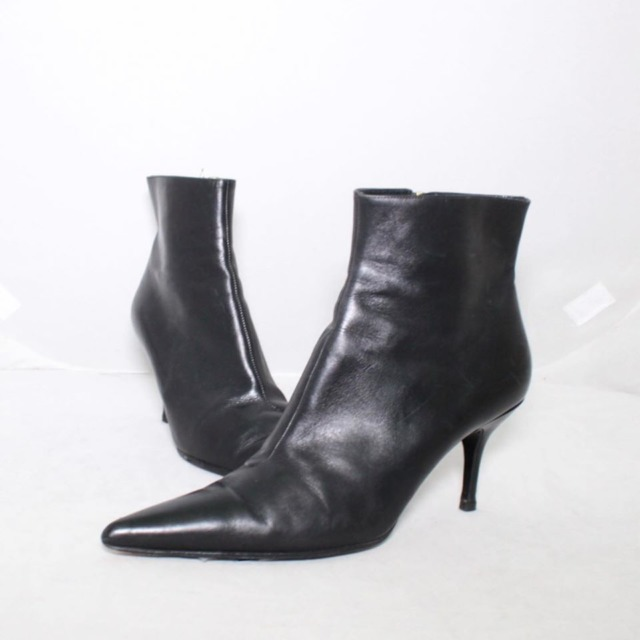DOLCE GABBANA Black Leather Booties Size 10 US Eur 40 21254 a