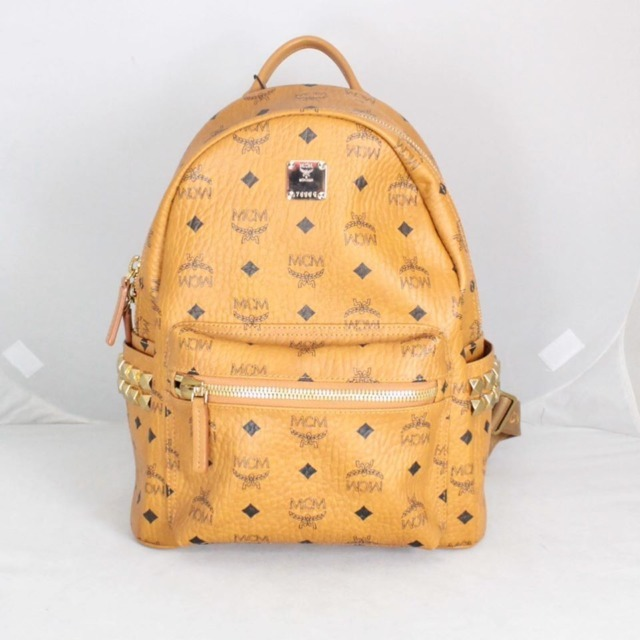 MCM 21038 Tan Leather Backpack a