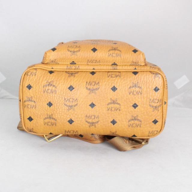 MCM 21038 Tan Leather Backpack b