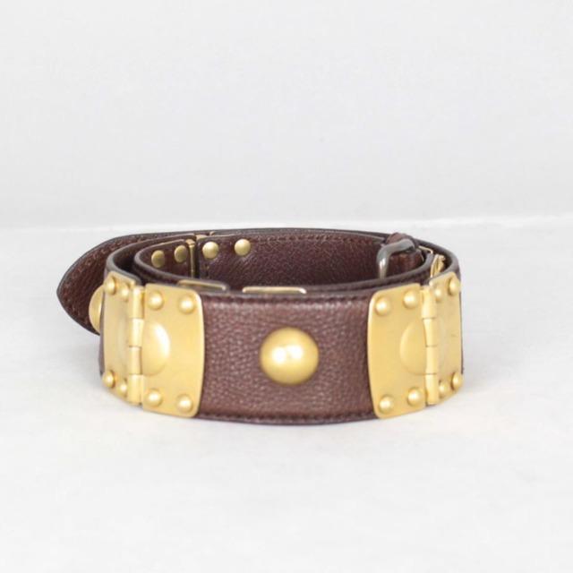 MIU MIU 21041 Brown Leather Gold Tone Details Belt size 32 30 a