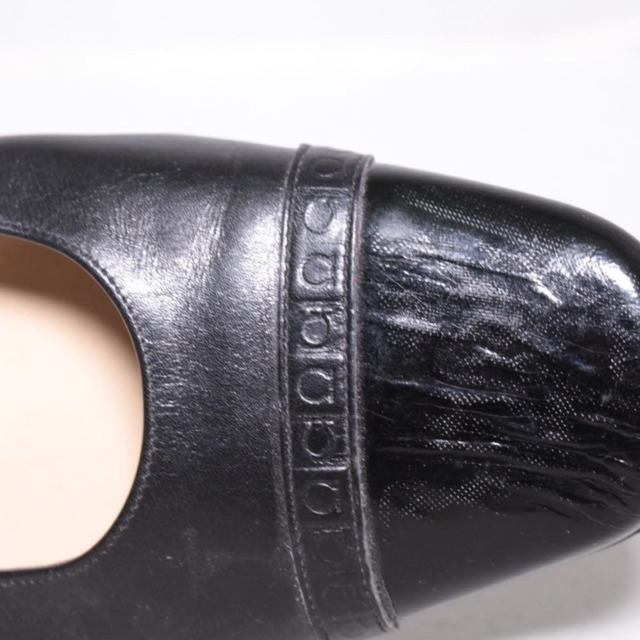 SALVATORE FERRAGAMO Black Leather Heels Size 8.5 US Eur 38.5 18121 g