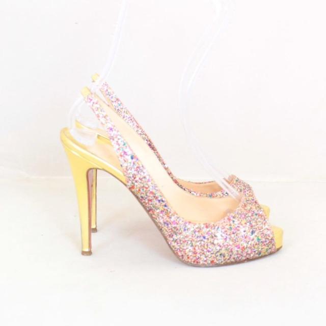 CHRISTIAN LOUBOUTIN Metallic Sparkly Sling Back Heels Size US 8.5 Eur 38.5 21866 b