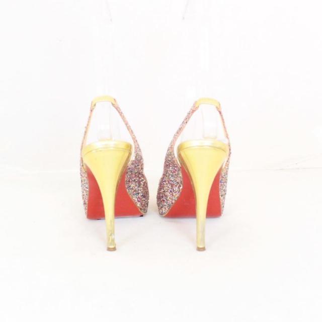 CHRISTIAN LOUBOUTIN Metallic Sparkly Sling Back Heels Size US 8.5 Eur 38.5 21866 d