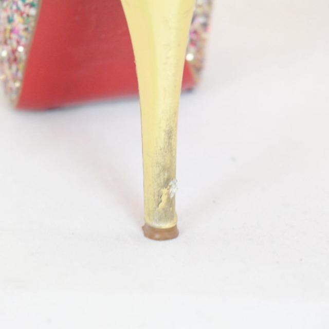 CHRISTIAN LOUBOUTIN Metallic Sparkly Sling Back Heels Size US 8.5 Eur 38.5 21866 f