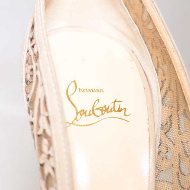 CHRISTIAN LOUBOUTIN Nude Lace Platform Heels Size US 9 Eur 39 22038 g