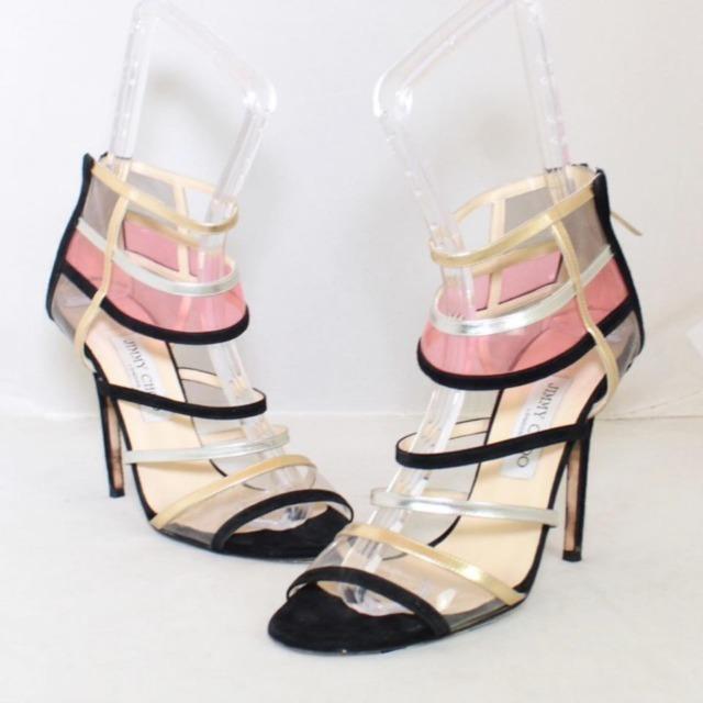 JIMMY CHOO Black Suede Open Toe Heels Size US 9 Eur 39 22041 a