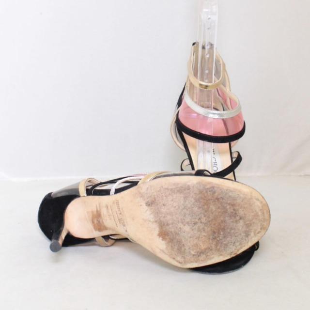 JIMMY CHOO Black Suede Open Toe Heels Size US 9 Eur 39 22041 b