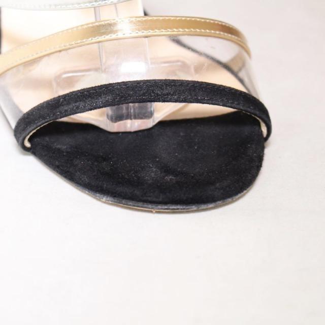 JIMMY CHOO Black Suede Open Toe Heels Size US 9 Eur 39 22041 e