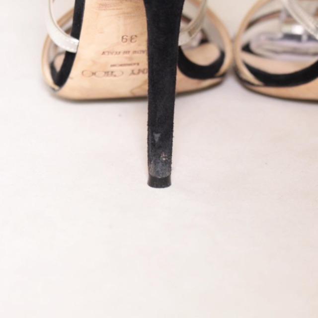 JIMMY CHOO Black Suede Open Toe Heels Size US 9 Eur 39 22041 g