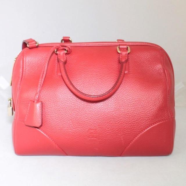 CAROLINA HERRERA Red Leather Boston Bag 14313 a