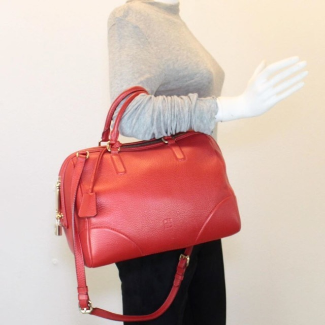 CAROLINA HERRERA Red Leather Boston Bag 14313 i