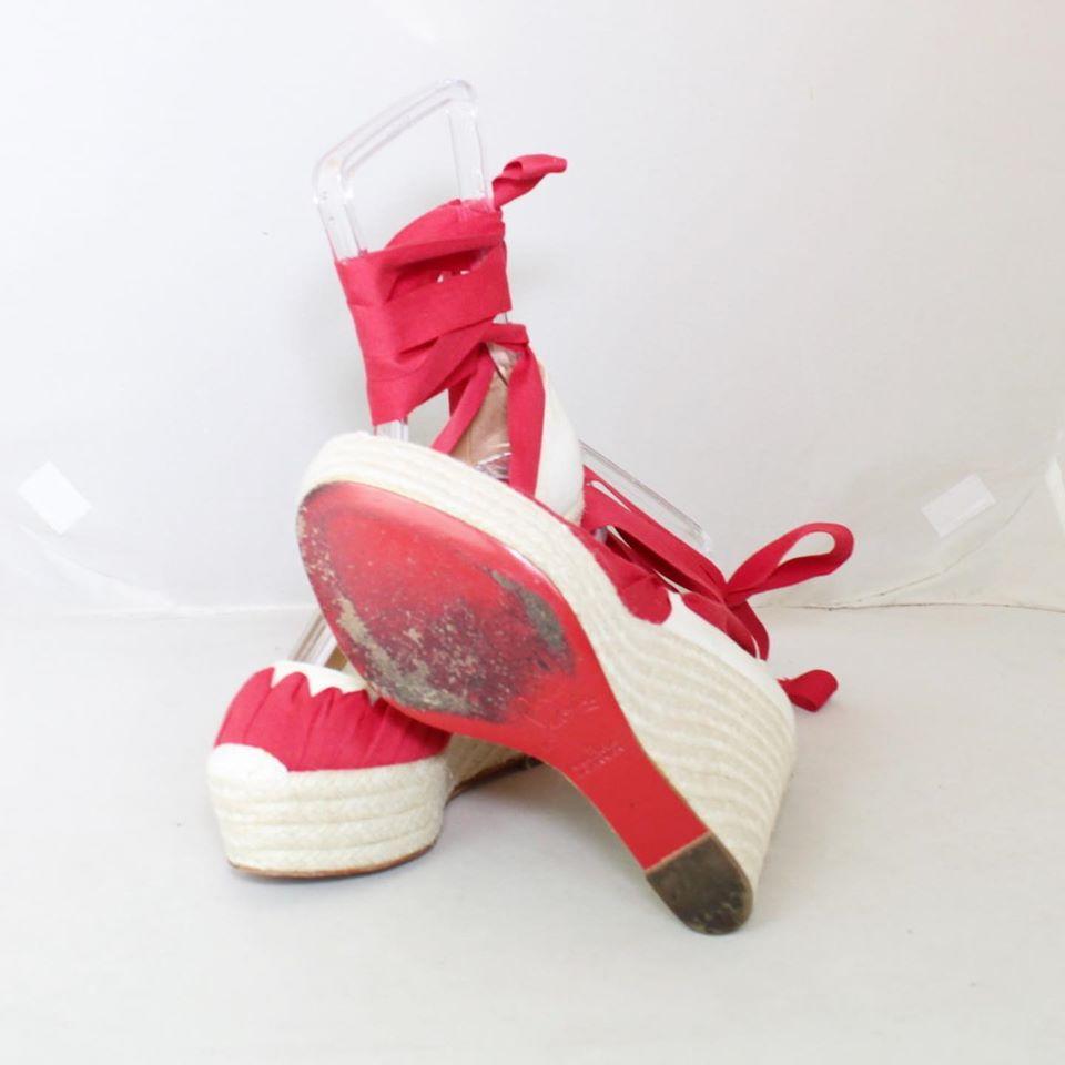 CHRISTIAN LOUBOUTIN Red Ibiza Espadrille Wedges Size USA 9 Euro 39 23073 d