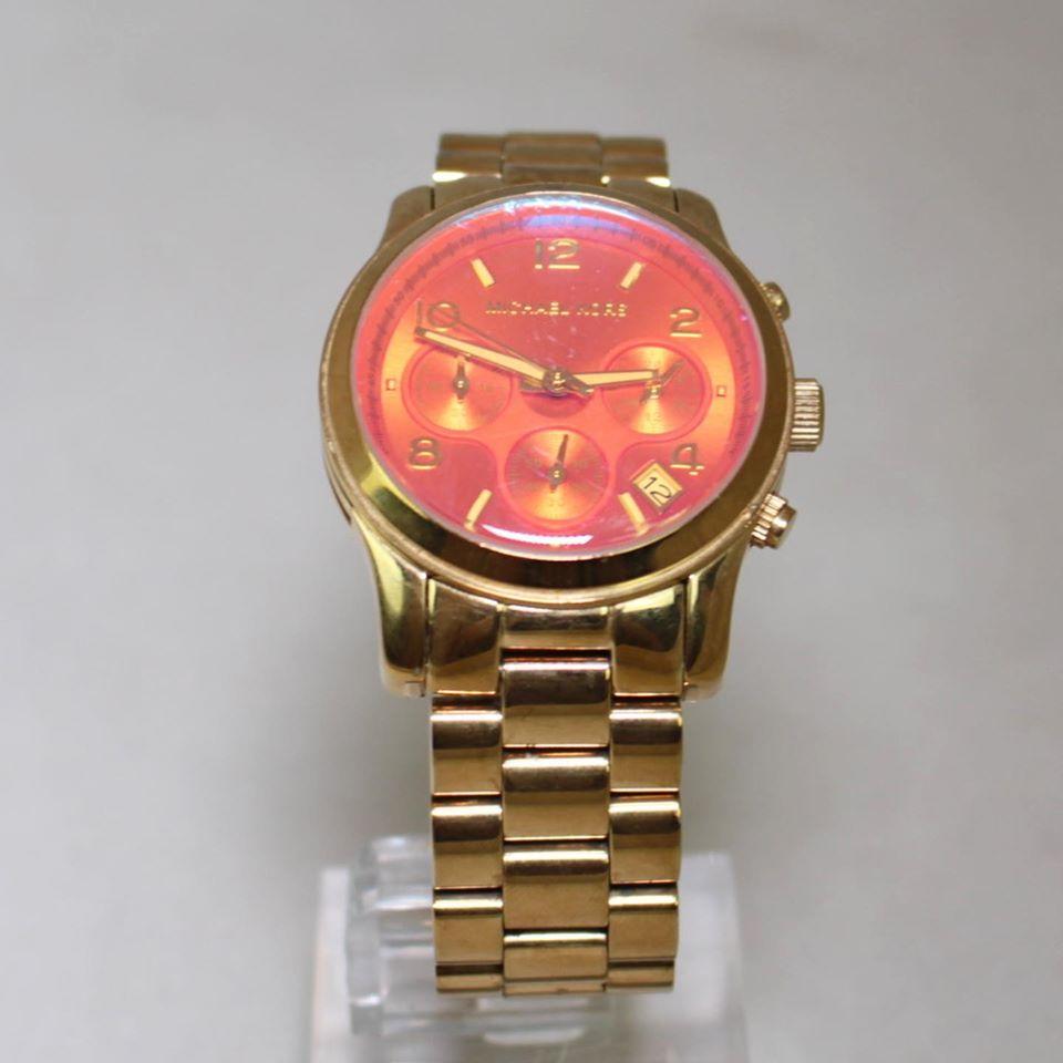 MICHAEL KORS Gold Tone Iridescent Glass Watch 22845 b