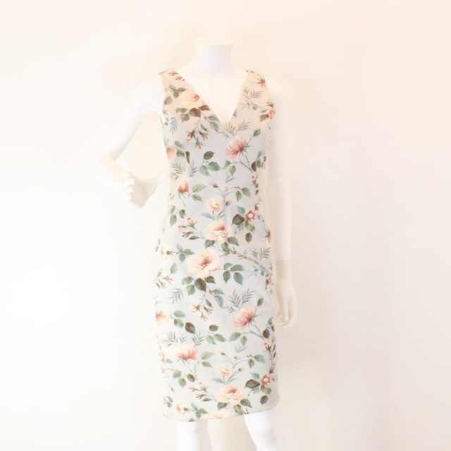 DOLCE GABBANA Light Blue Floral Midi Dress Size USA 6 Euro 36 23148 a