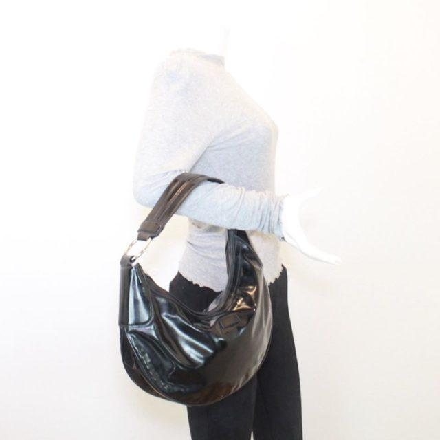 GUCCI Black Patent Leather Shoulder Bag 23198 g