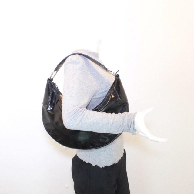GUCCI Black Patent Leather Shoulder Bag 23198 h