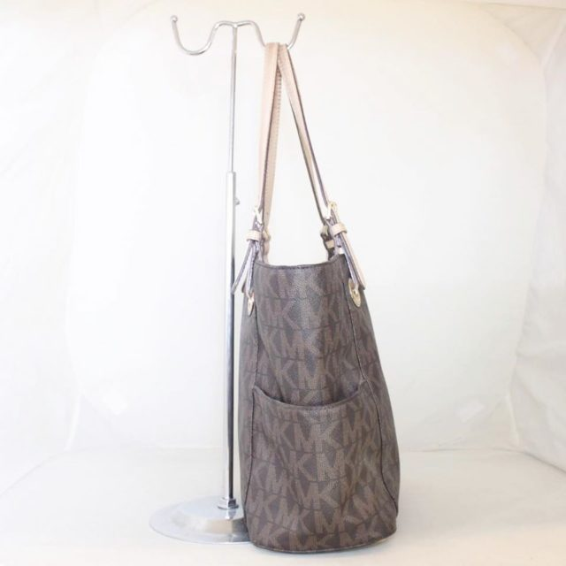 MICHAEL KORS Brown Leather Canvas Tote 25242 b