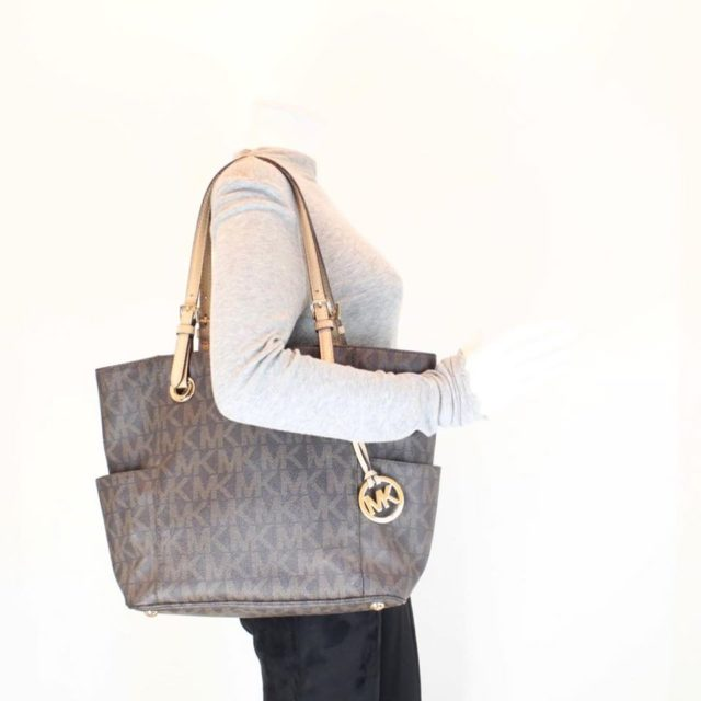 MICHAEL KORS Brown Leather Canvas Tote 25242 e