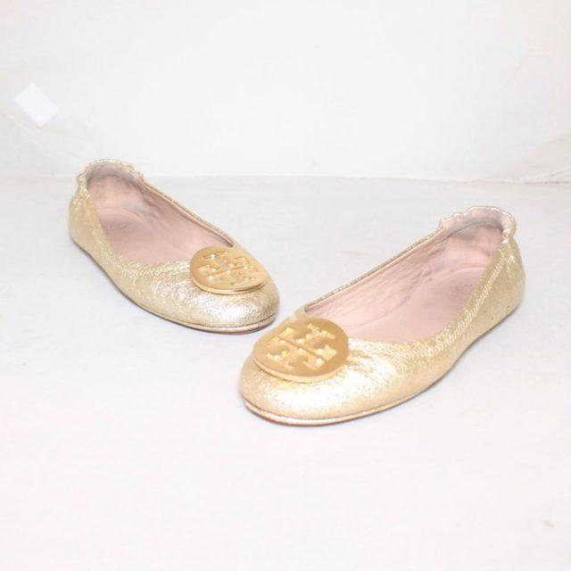 TORY BURCH Metallic Gold Ballerina Flats 6.5 US 36.5 EU 24876 a